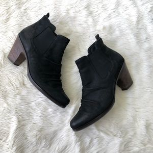 Paul Green Black Suede Leather Booties Sz 8 US